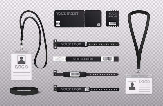 Personeel corporate identiteitskaarten club lidmaatschap evenementen passeert polsbandjes armbanden zwart realistische set uitknippad illustratie