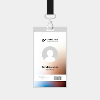 Personeel id badge sjabloon vector voor tech bedrijf huisstijl