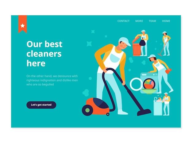 Personeel van de schoonmaakdienst tijdens huishoudelijke werken webbanner op turquoise vlakke afbeelding