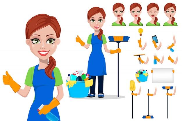 Personeel van het schoonmaakbedrijf in uniform schoonmaken