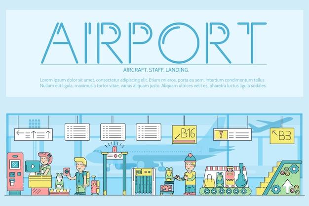 Personeel werkt en registreert mensen en bagage op de luchthaven.