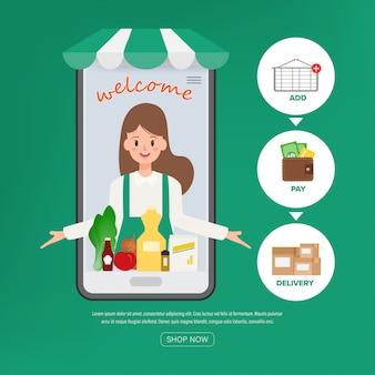 Personeelsmedewerkers die online winkelen aanbieden. supermarkt online winkel.
