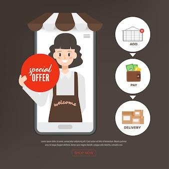 Personeelsmedewerkers die online winkelen aanbieden