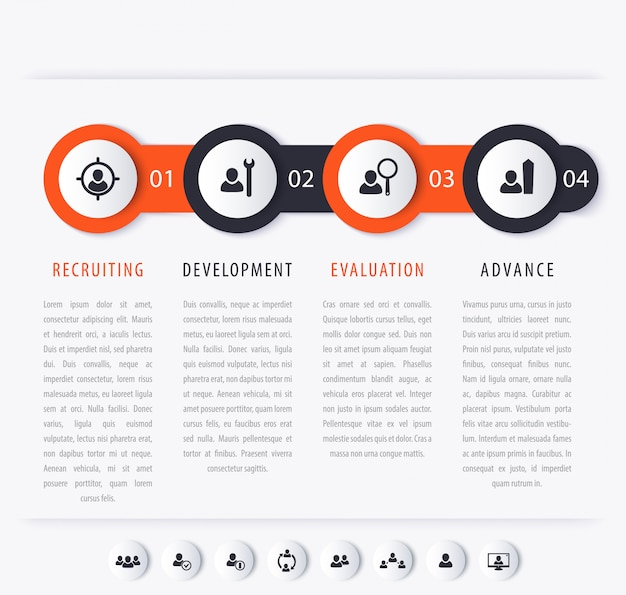 Personeelsontwikkeling stappen infographics elementen met pictogrammen