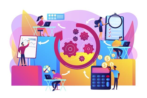 Personeelsorganisatie en management. workflowprocessen, workflowprocesontwerp en automatisering geven een boost aan uw kantoorproductiviteitsconcept.