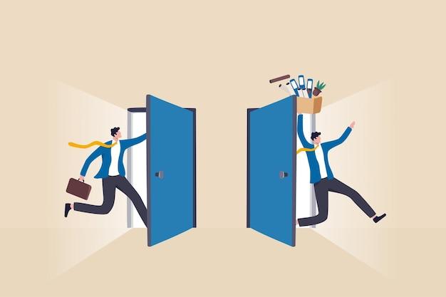 Personeelsverloop of jobrotatie in people management, human resources om nieuwe mensen te werven