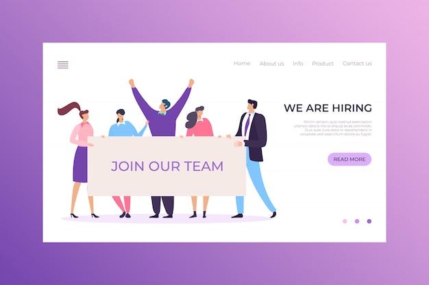 Personeelswerving bedrijf agentschap landing headhunter concept, karakter mannelijke vrouwelijke bedrijf team illustratie.