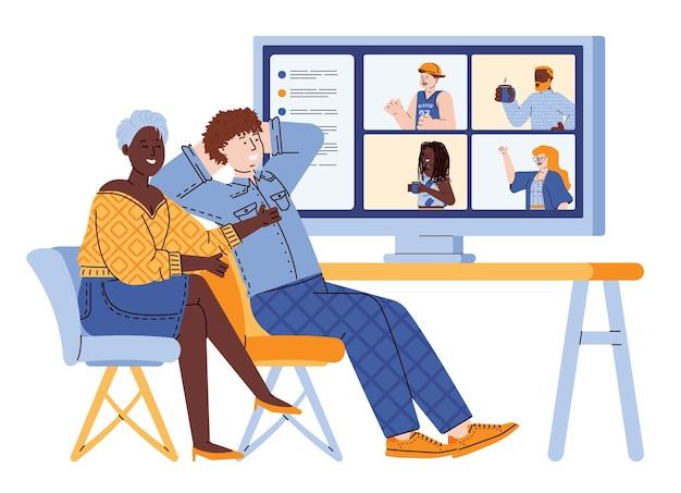 Personen communiceren met vrienden