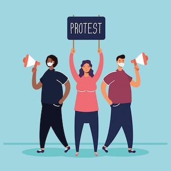 Personen die medische maskers dragen die met aanplakbiljet en megafoonillustratie protesteren