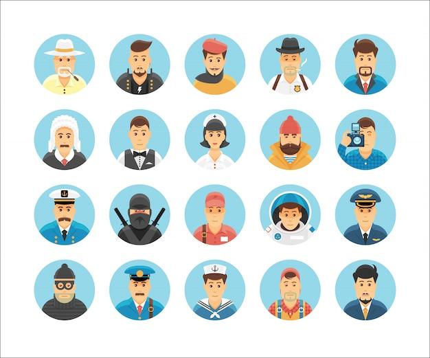 Personen iconen collectie. geplaatste pictogrammen die mensenberoepen, levensstijlen, naties en culturen illustreren.