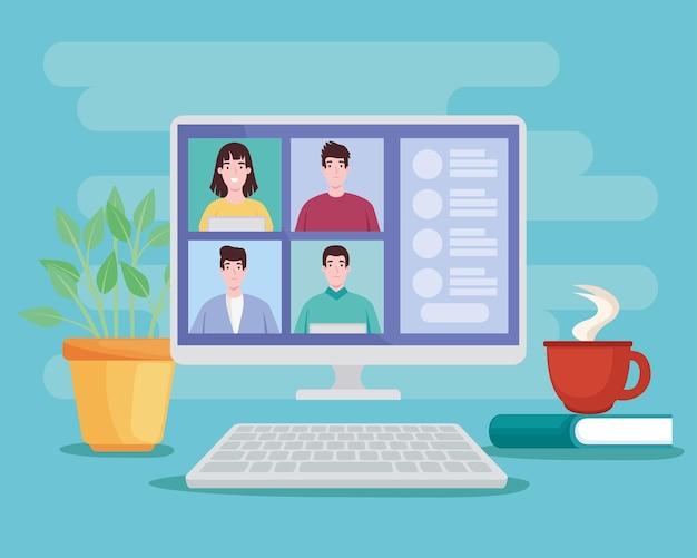Personen in virtuele communicatie
