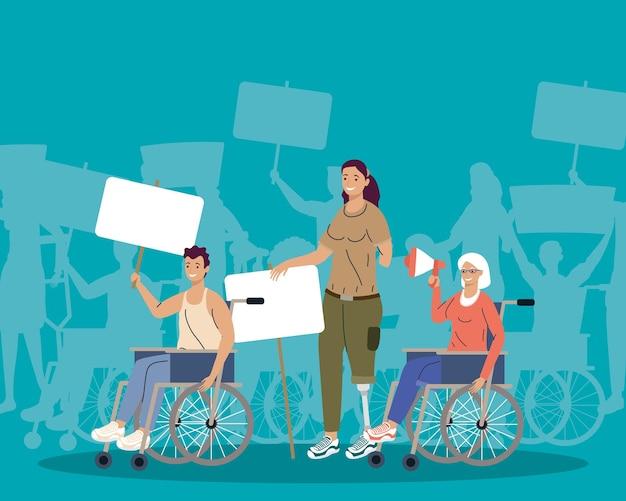 Personen met een handicap protesteren campagnekarakters