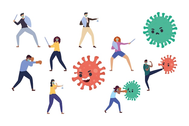 Personen vechten tegen illustratie van deeltjeskarakters