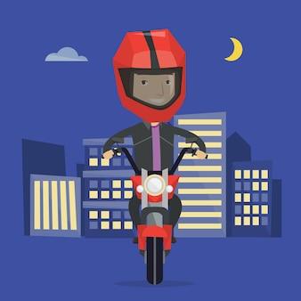 Personenvervoer motorfiets bij nachtillustratie
