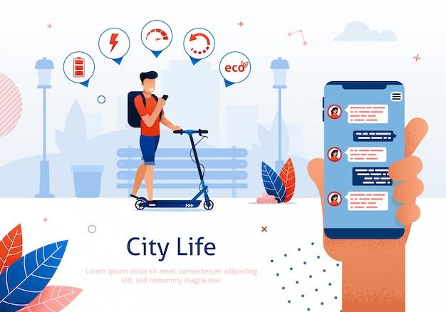 Personenvervoer scooter die mobiele telefoon met tekst.