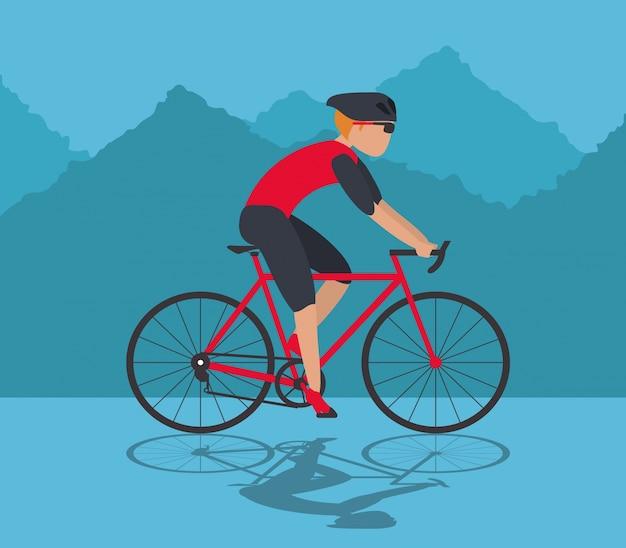 Personenvervoerfiets en bergachtergrond