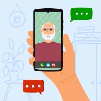 Persoon belt grootvader via online video op smartphone thuis. concept blijf thuis en bel je ouders vanuit de videokaart. hand getekend illustratie op blauwe achtergrond met meubels.