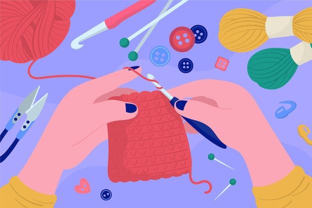 Persoon die aan diy geïllustreerde workshop werkt