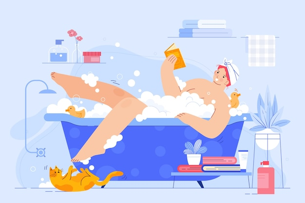 Persoon die een badillustratie heeft