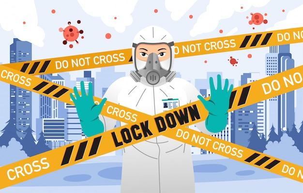 Persoon die een hazmat-pak draagt met een gesloten stad vanwege het virusbesmettelijkheidsvirus