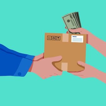 Persoon die een pakket ontvangt en bij aflevering betaalt