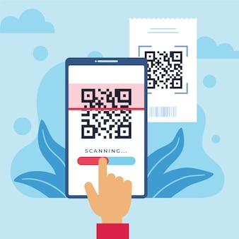 Persoon die een qr-code scant met een geïllustreerde smartphone