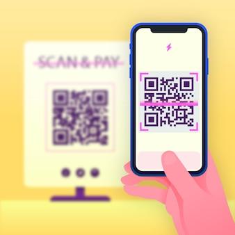 Persoon die een qr-code scant met een smartphone