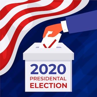 Persoon die een stembiljet aanbrengt in een doos in de vs.