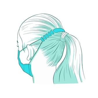Persoon die een verstelbare gezichtsmaskerband draagt
