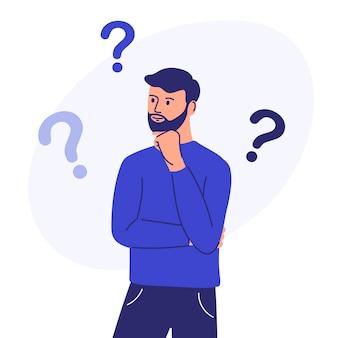 Persoon die een vraag heeft een mannelijk personage dat in een peinzende houding staat, houdt zijn kin vast en vraagt