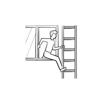 Persoon die het gebouw verlaat door een raam op de ladder als gevolg van een brandongeval handgetekende schets doodle pictogram. brand ongeval vector schets illustratie voor print, web, mobiel en infographics.