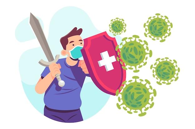 Persoon die het geïllustreerde virus bestrijdt Gratis Vector