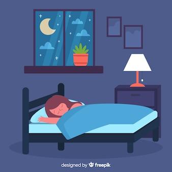 Persoon die in bed in vlakke stijl slaapt