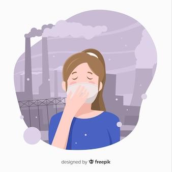 Persoon die in een stad leeft vol vervuiling