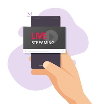 Persoon die live streaming-show op video-illustratie van mobiele telefoon bekijkt