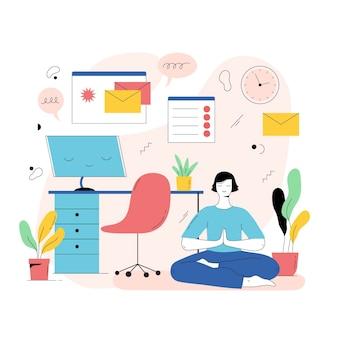 Persoon die mediteert na online werken