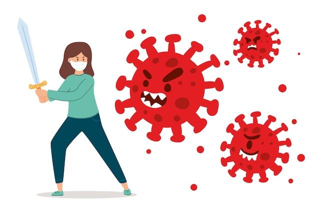 Persoon die met zwaard het virus bestrijdt