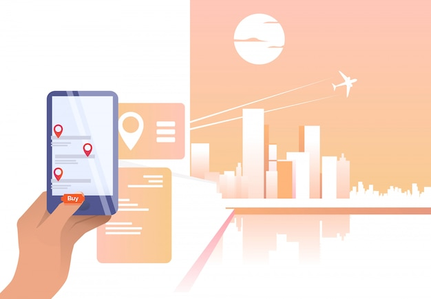 Persoon die online app gebruikt en vliegticket koopt