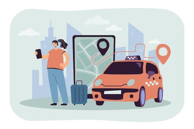 Persoon die online een taxi naar de luchthaven bestelt