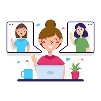Persoon die online met geïllustreerde vrienden spreekt