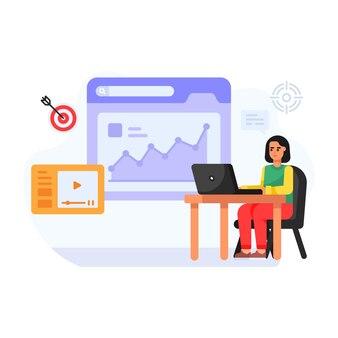 Persoon die online platte illustratie van seo-targeting werkt