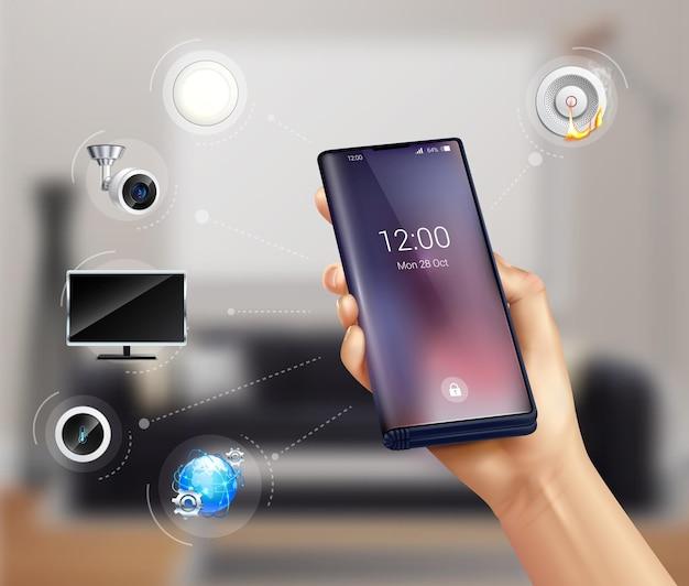 Persoon die slimme huis bestuurt met smartphone
