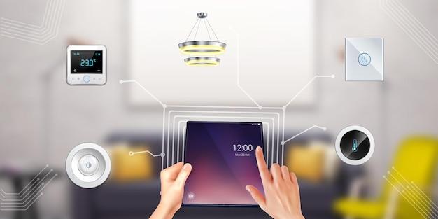 Persoon die slimme huis bestuurt met tablet