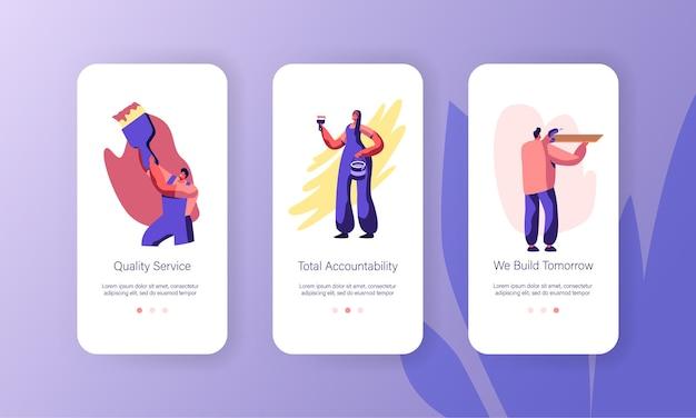 Persoon die thuis renovatie maakt mobiele app-pagina schermset aan boord.