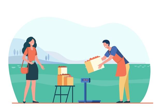 Persoon die vers boerderijvoedsel koopt. boer verkoopt fruit buitenshuis