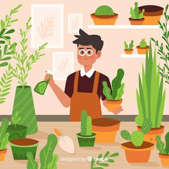 Persoon die voor planten zorgt