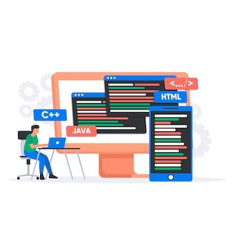 Persoon die werkt voor app-ontwikkeling