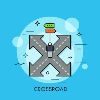 Persoon die zich op kruispunt voor dubbelzijdig verkeersbord bevindt.