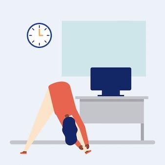 Persoon doet een actieve pauze in het kantoor, vlakke stijl