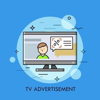 Persoon en spraakballon met aankondiging op tv-scherm.